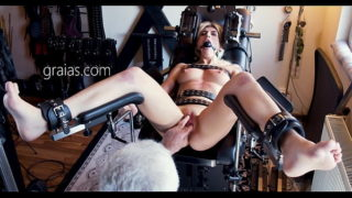 Charming Blonde in a Restrictive Device